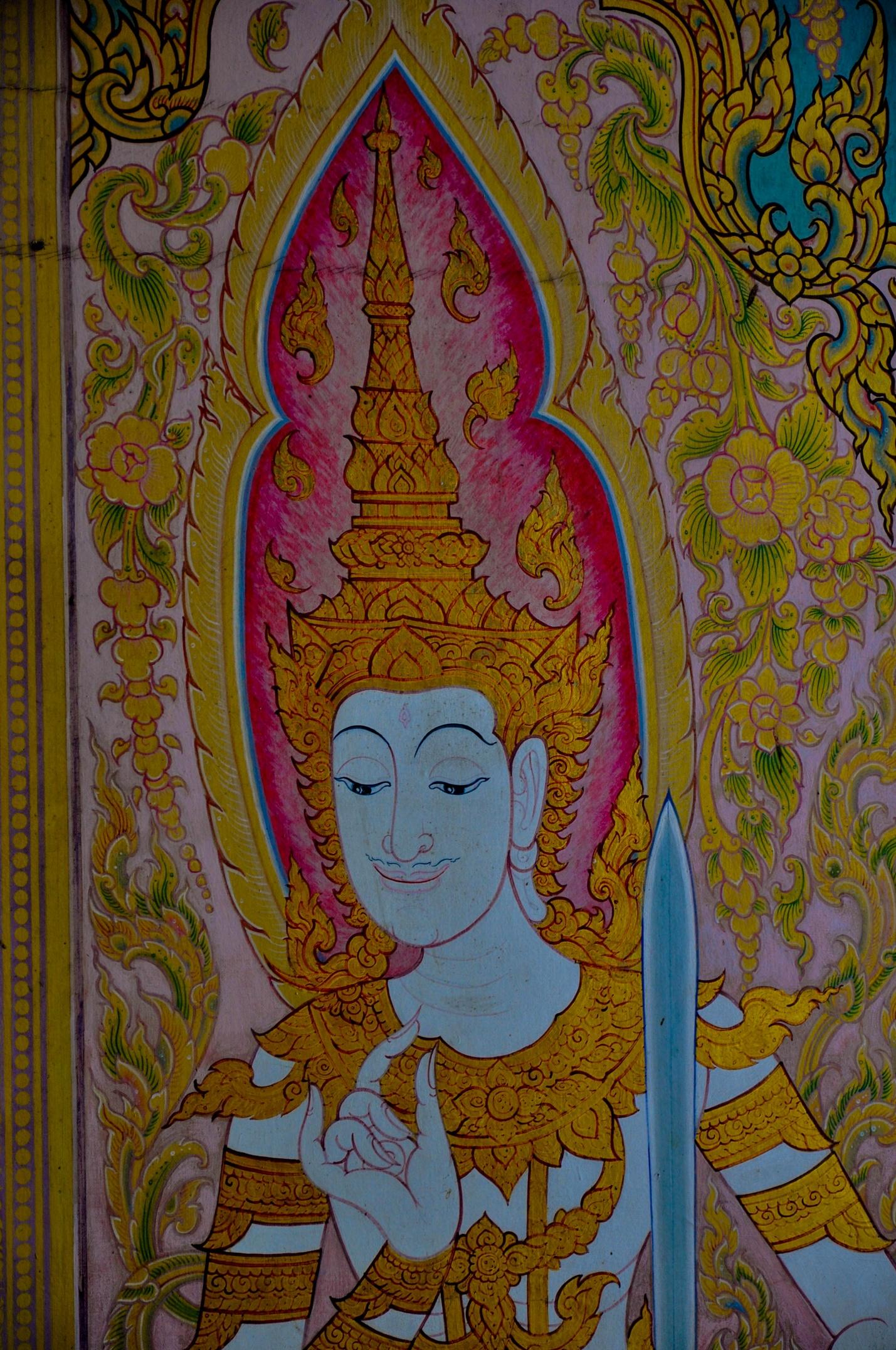 Роспись в тайском храме, Бодхгая, Индия