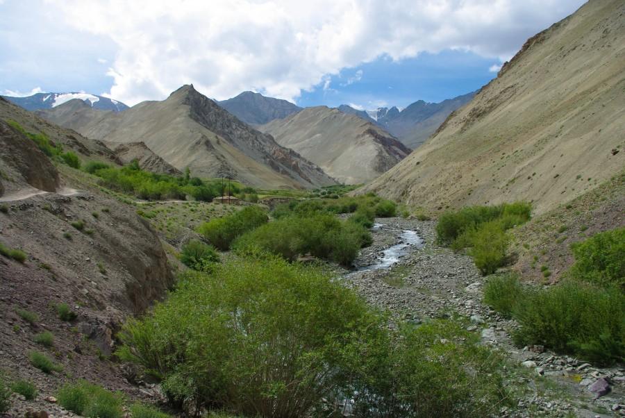 Тропа и речка меж гор в Ладакхе