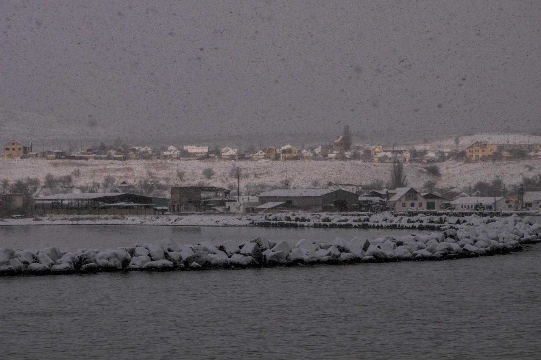 Керченская переправа зимой. Крым