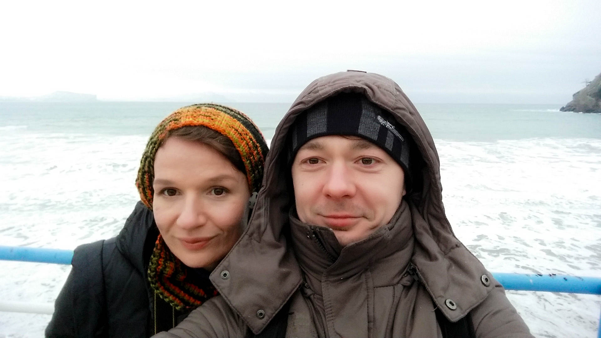 Анна и Калушевич зимой у моря, Новый Свет, Крым