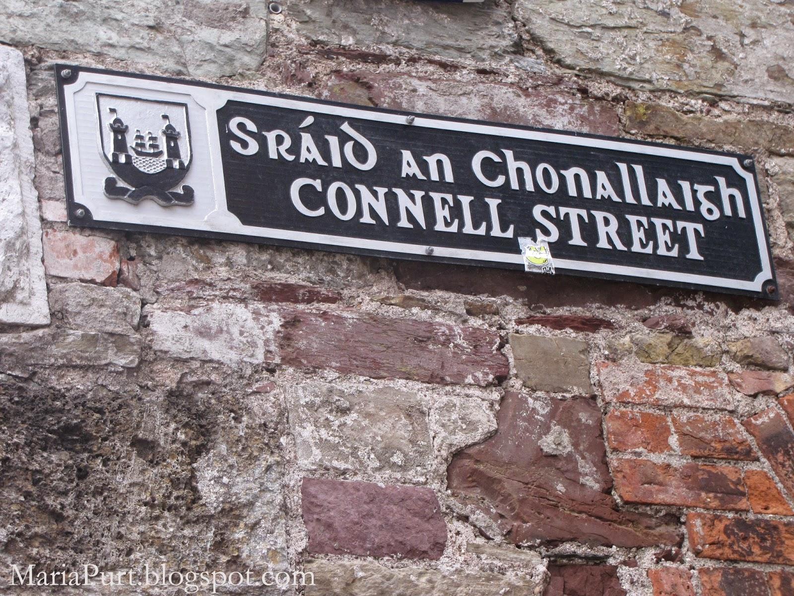 Табличка с названием улицы на ирландском и на анлийском, Корк, Ирландия