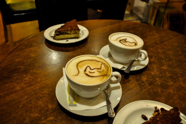 Кофе с рисунком кота, котокафе, Будапешт