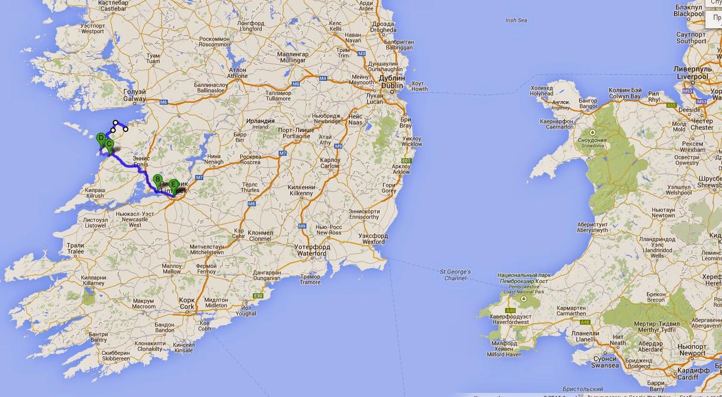 Карта маршрута по Ирландии