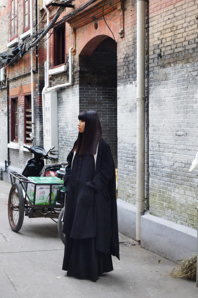 Parkchoonmoo coat; Yohji Yamamoto Y's dress; Yohji Yamamoto skirt
